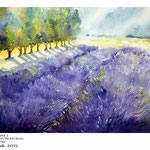 Lavendelfeld I / Aquarell 30,5x45,5cm auf Fabriano © janinaB. 2015