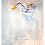 Stillleben mit Wasserglas, Narzisse und zwei Eiern (25) / Watercolour 28x34cm