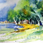 Ort am See I / Aquarell 17x24cm auf Hahnemuehle