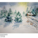 Winterlandschaft I / Aquarell 23x30cm auf Fabriano © janinaB.