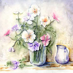Blumen in der Glasvase (6) / Watercolour 30x40cm  © janinaB.