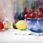 Stillleben mit Erdbeeren und anderen Obst / Aquarell 30x40cm auf Arches satiniert