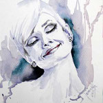 Audrey Hepburn I / Watercolour 27x17,5cm on Fabriano Studio  © janinaB. 2016