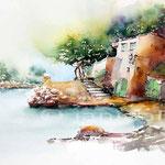 Haus am See (13) / Aquarell auf Fabraino 30x40cm