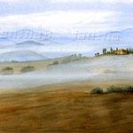 Toskana im Nebel (2) / Watercolour 30x40cm ©janinaB.