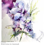 Flowers XIII 2018 (O1) / 15x16cm Watercolour by ©janinaB.