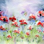 Mohnwiese (O6) / Watercolour 18x25cm © janinaB. / insp. Kate Kos