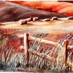 Landscape VII 2008 (O3) / Watercolour 15x22cm ©janinaB.