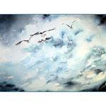vier Möwen und das Meer (25) / Watercolour 24x34cm