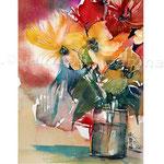 Flowers VI 2017 / Watercolour 20x30cm on Fabriano CP © janinaB. 2017  /Gestern habe ich die Aquarelle von E. Memmler angeschaut. Deswegen sieht mein Bild so aus, wie es aussieht; was kein Grund zum Vergleich sein sollte.  Ich mag es einfach.