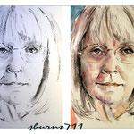 Janet / Kohle-Zeichnung aquarelliert