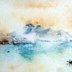 Der Rigi bei Sonnenaufgang (O1) / Watercolour 18x25cm ©janinaB.