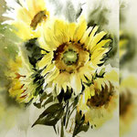 Sunflowers I 2018 (21) / 30x40cm Watercolour by ©janinaB.