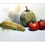 Stillleben-mit-Mais,-Melone (4) / Watercolour 30x40cm