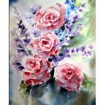 Rosen und Rittersporn (19) / Watercolour 30x40cm