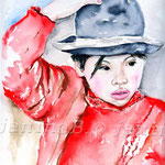 Holding the Hat (16) / Watercolour 24x32cm / insp. Leonid Plotkin