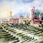 Kastell-in-Piemont / Aquarell 30x40cm auf Arches satiniert