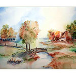 Herbstliche Dorfidylle (12) / Watercolour 30x40cm