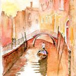 Gondel auf dem Rio di San Provolo (18) / Watercolour 30x40cm  ©janinaB.