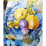Stillleben mit Früchten, Wasserkrug und Cappucino (4) / Watercolour 30x40cm