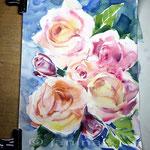 bunte Rosen (16) / Watercolour 24x34cm