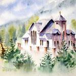 Saint Malo Kirche nahe Estes Park, Colorado (2) / Watercolour 25x36cm ©janinaB.