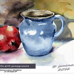 Still life with pomegranate / Watercolour 20x30cm on Arches CP  © janinaB. 2016
