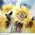 Sunflowers IV 2018 (20) / 30x40cm / Watercolour by ©janinaB.