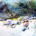 Wasserfall (3) / Watercolour 25x25cm  ©janinaB.