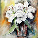 White-Lilies-(10) / Watercolour 30x40cm