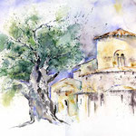 Abtei San Antimo (12) / Watercolour 30x40cm  ©janinaB.