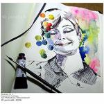 Audrey H. I / Aquarell-Collage auf Moleskine-Skizzenbuch © janinaB. 2016
