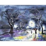Nachts im Regen (O1)  /  Watercolour 18x24cm ©janinaB.