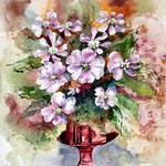 Lichtnelken in der roten Vase (15) / Aquarell 30x40cm auf Arches satiniert