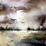Seelandschaft (O1) / Aquarell 15x23cm
