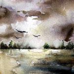 Seelandschaft (O6) / Aquarell 15x23cm