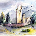 Kirche in den Bergen (O6) / Watercolour 18x25cm © janinaB.