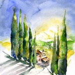 Zypressenallee (12) / Watercolour 30x40cm  ©janinaB.