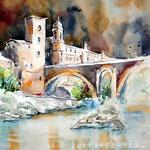 Bruecke in Trastevere / Aquarell auf Fabriano Studienkarton 27x35cm
