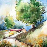 dörfliche Landschaft / Aquarell 30x40cm