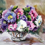 bunte Astern (15) / Watercolour 27x35cm
