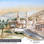 Monastery of St. Anthony-Egypt / Watercolour 26x20cm  on Arches CP ©janinaB.