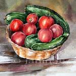 Stillleben mit Tomaten, Gurken und Zucchini im Korb / Aquarell 30x40cm auf Arches kalt gepresst