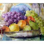 Stillleben mit Früchten und Wein (25) / 30x40cm / Watercolour bei ©janinaB.