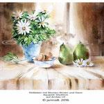 Stillleben mit Blumen Birnen und Eiern / Aquarell 30x40cm auf Arches CP © janinaB. 2016