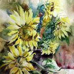 Sonnenblumen (18) / Aquarell 30x40cm
