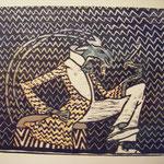 Die Serie (23ex.) habe ich von Juli bis September, mit vier Farben, von einer Platte gedruckt (verlorene Form). Das Orginalbild von  Ludwig Heinrich Jungnickel hängt noch bis zum 3. Oktober 2016 in der Schirn Kunsthalle Frankfurt.