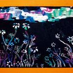 「版画・青空の下に咲くコスモス」 リャン・ユヤン 尼崎朝鮮初中級学校