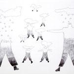 「ペン画・よっしゃ、後ちょっとで完成や」 ソン・ファヨン 尼崎朝鮮初中級学校