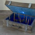 Patagonien-  Holz, Pigmnete ,Blattgold , Beleuchtung  / 120 x 60 x 100 cm